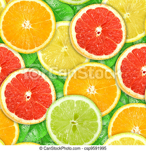 Seamless pattern with motley citrus-fruit slices - csp9591995