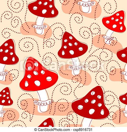 Seamless pattern with mushrooms - csp8916731