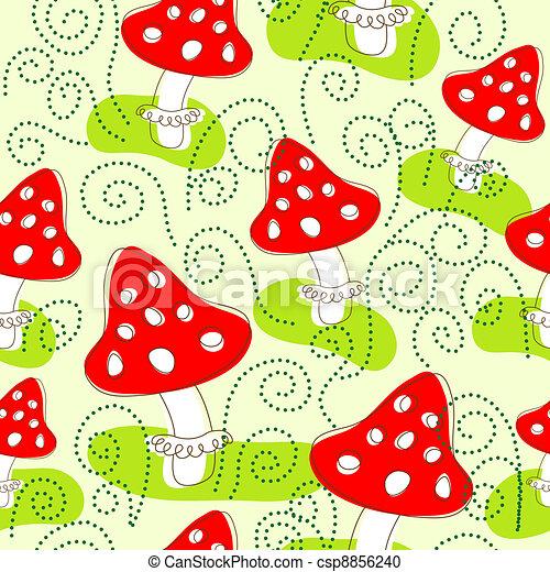Seamless pattern with mushrooms - csp8856240