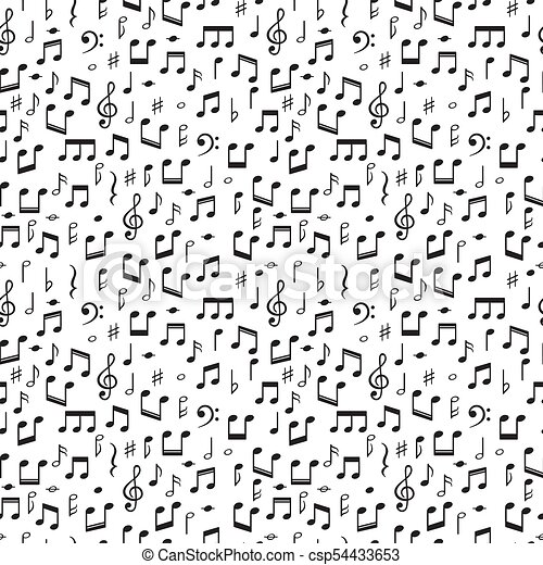 Seamless Pattern With Music Notes Hand Drawn Background Clipart