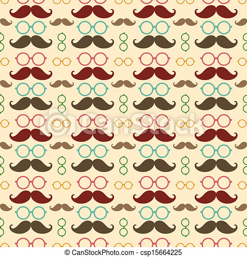 Seamless Pattern With Mustache And Glasses