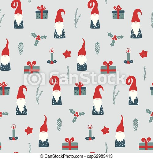Christmas Gnomes Pattern.Seamless Pattern With Nordic Gnomes And Christmas Festive Decorations