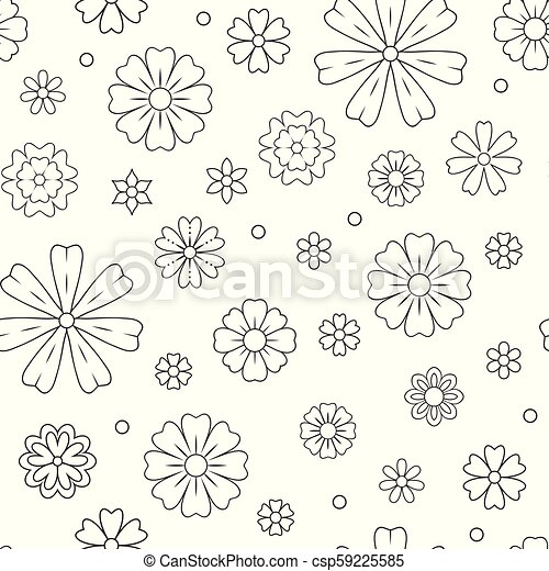seamless pattern with outline flowers for coloring book beautiful floral background for color artwork monochrome backdrop summer flower drawing