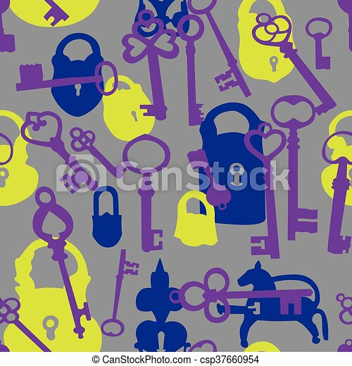 Seamless pattern with padlocks and keys - csp37660954