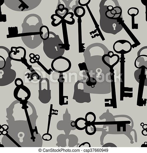 Seamless pattern with padlocks and keys - csp37660949