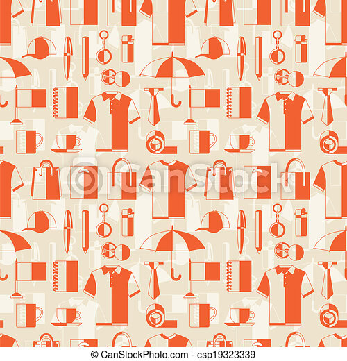 Seamless pattern with promotional gifts and souvenirs. - csp19323339