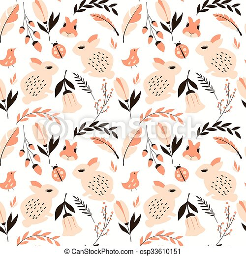 Seamless pattern with rabbits, lady - csp33610151