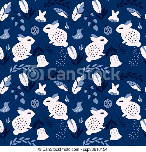 Seamless pattern with rabbits, lady - csp33610154