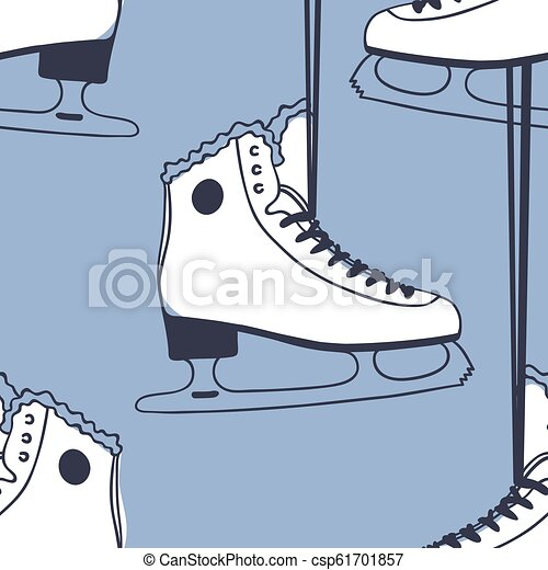 Seamless pattern with racing skates. Hand drawn fashion illustration. Blue Creative ink art work. Actual Winter cozy vector background Ice Skating - csp61701857