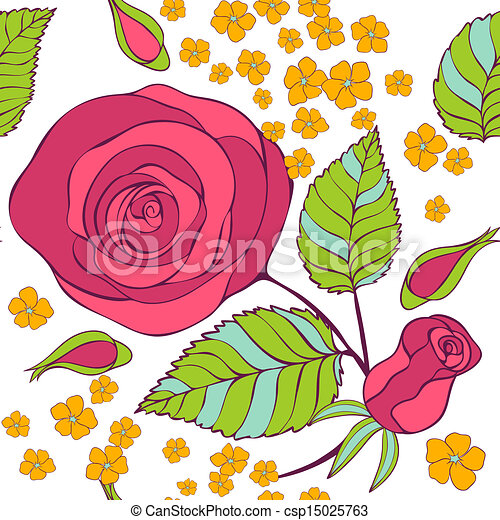 seamless pattern with roses - csp15025763