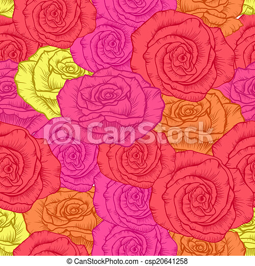 seamless pattern with roses - csp20641258
