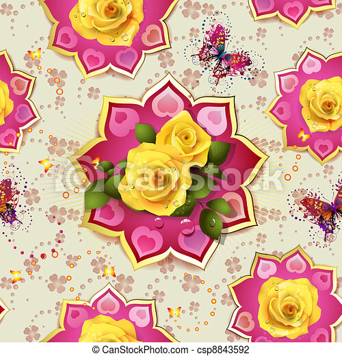 Seamless pattern with roses - csp8843592