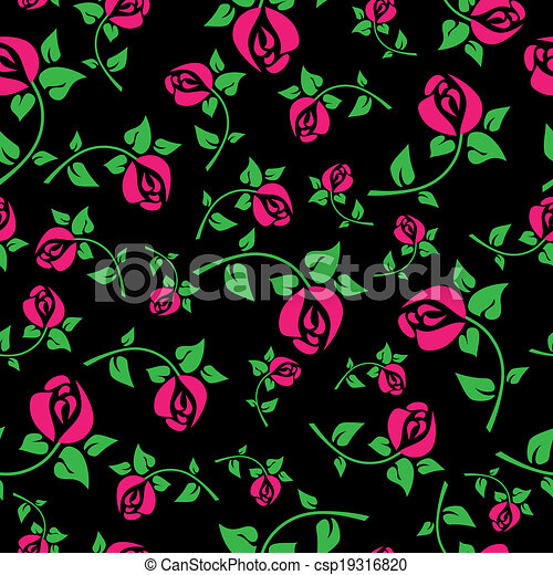 Seamless pattern with roses on  black background - csp19316820