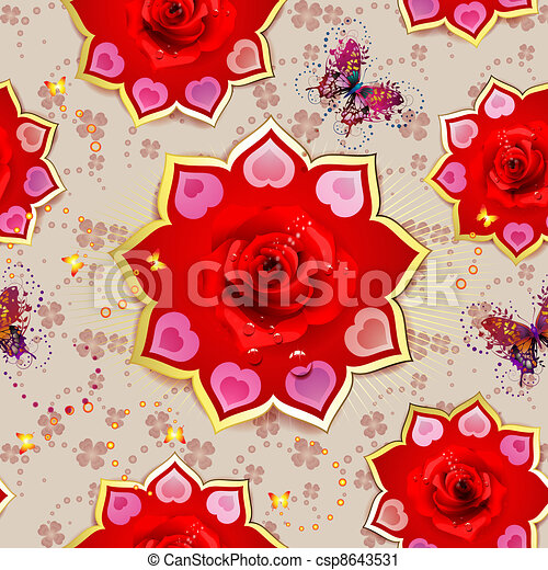 Seamless pattern with roses - csp8643531
