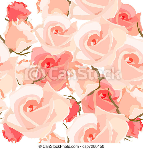 Seamless pattern with roses - csp7280450