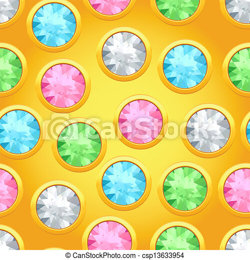 Seamless pattern with round jewels. - csp13633954