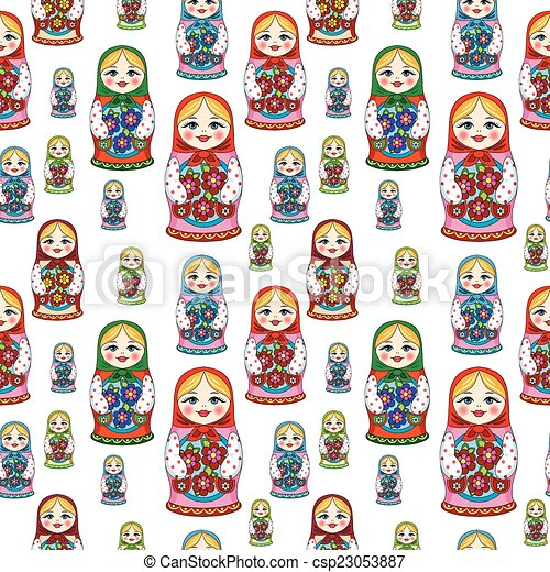 seamless pattern with Russian dolls - csp23053887
