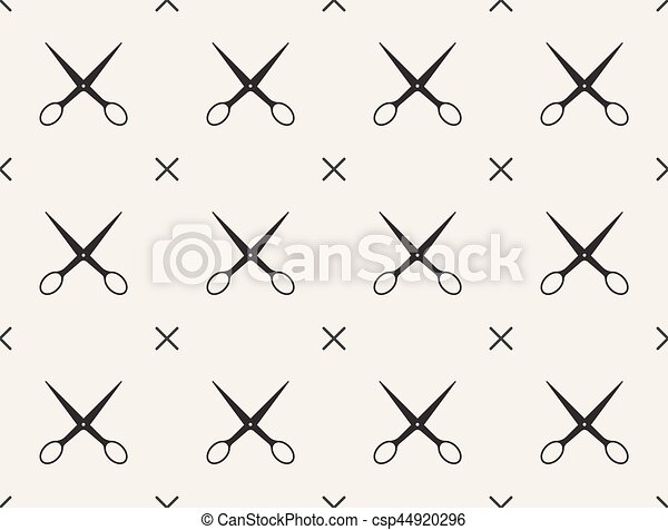 Seamless pattern with scissors, vector, tailoring - csp44920296