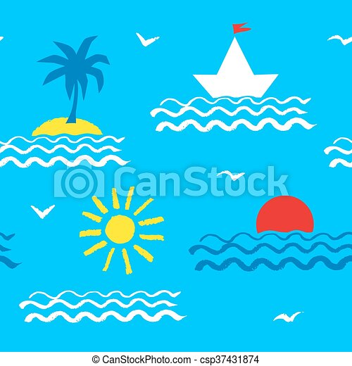 Seamless pattern with sea - csp37431874
