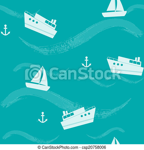 Seamless pattern with ships and waves - csp20758006