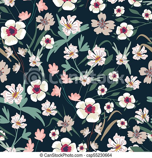 Seamless Pattern With Small Flowers On A Dark Background