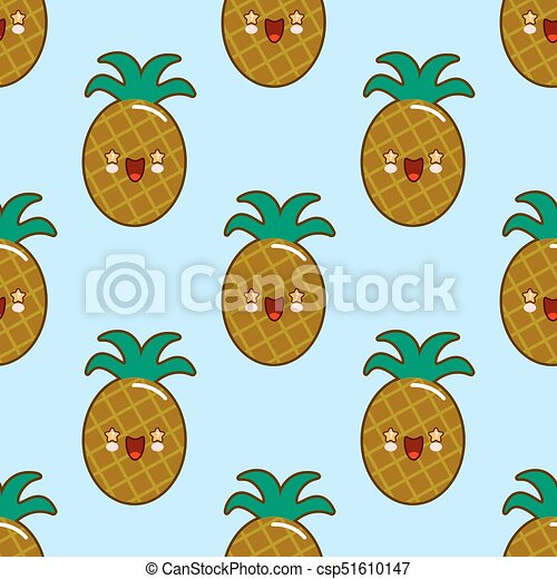 Seamless Pattern With Smiling Pineapples For Kids Holidays Vector Pineapple Background Cute Summer