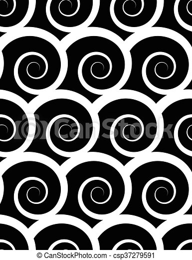 Seamless pattern with spiral. Monochrome repeatable pattern. - csp37279591
