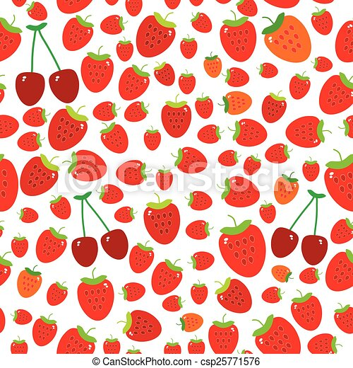 Seamless pattern with strawberries on the white background. Vector - csp25771576