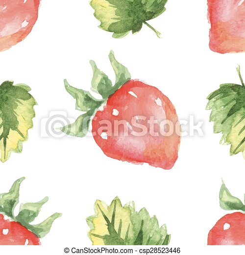 seamless pattern with strawberry and leaves - csp28523446