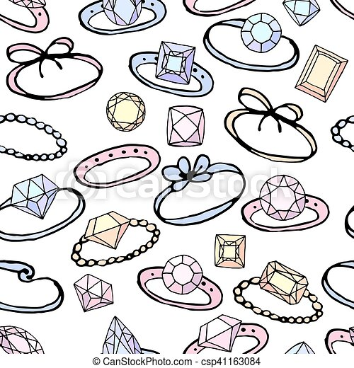 Seamless pattern with stylized rings for girl and young woman. Black contour, white background, pink,blue and yellow color. Endless texture. - csp41163084