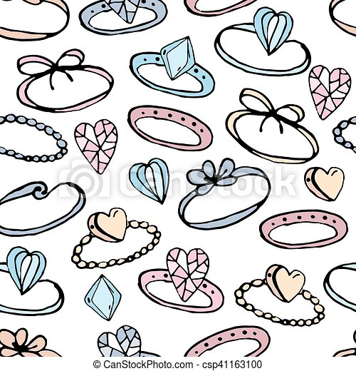 Seamless pattern with stylized rings for girl and young woman. Black contour, white background, pink,blue and yellow color. Endless texture. - csp41163100