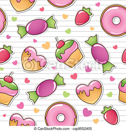 seamless pattern with sweets - csp9552405