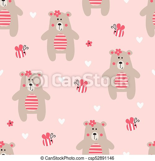 Seamless Pattern with Teddy Bear - csp52891146