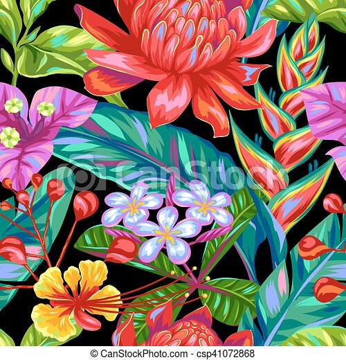 Seamless pattern with Thailand flowers. Tropical multicolor plants, leaves and buds - csp41072868