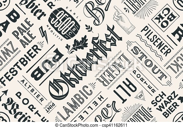 Seamless pattern with types of beer and hand drawn lettering - csp41162611