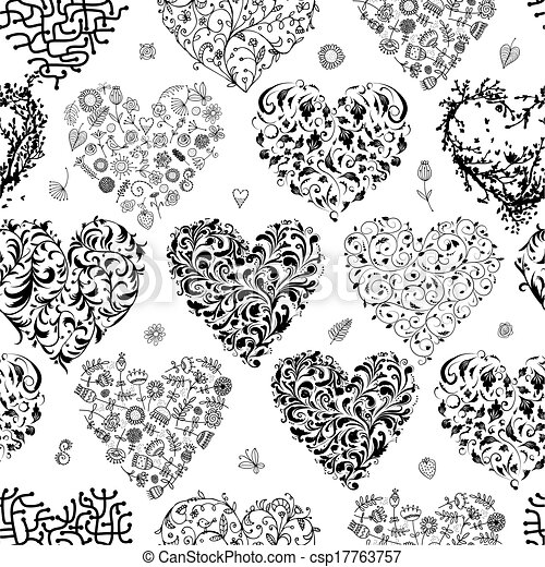 Seamless pattern with valentine hearts for your design - csp17763757