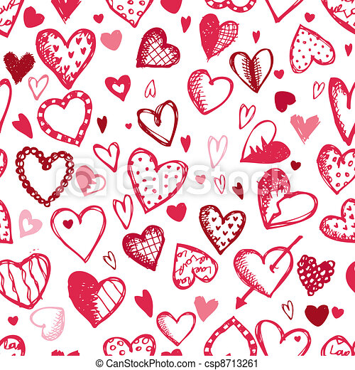 Seamless pattern with valentine hearts, sketch drawing for your design - csp8713261