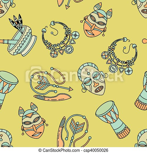 Seamless Pattern With Voodoo Symbols Seamless Pattern With Voodoo