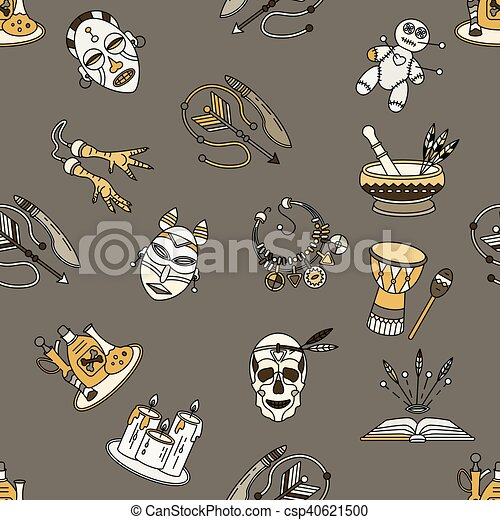 Seamless pattern with voodoo symbols