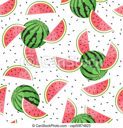 Seamless pattern with watermelon slices. Vector illustration. - csp50874823