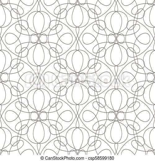 Seamless pattern with wavy lines lines on white background - csp58599180