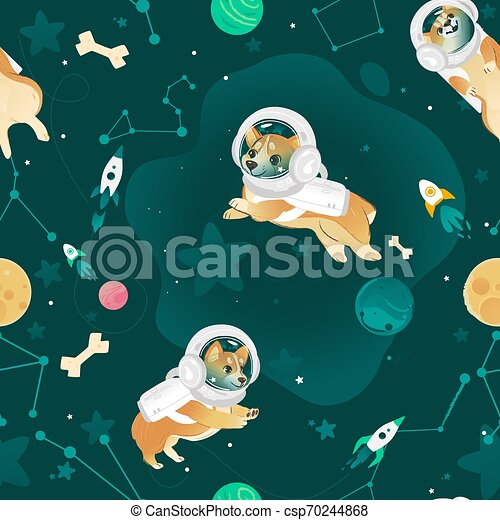 Seamless pattern with Welsh Corgi dogs flying in open space cartoon style - csp70244868