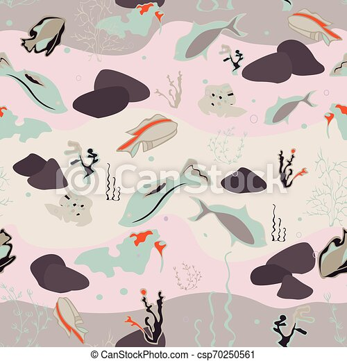 Seamless pattern with whales, seaweeds, corals and fish - csp70250561