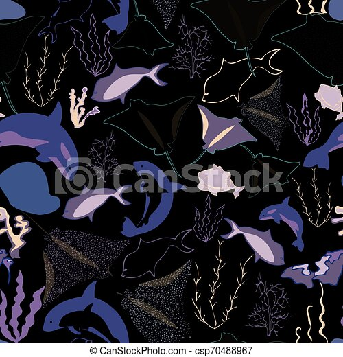 Seamless pattern with whales, seaweeds, corals and fish - csp70488967