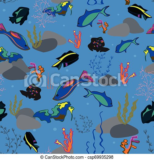 Seamless pattern with whales, seaweeds, corals and fish. - csp69935298