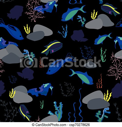 Seamless pattern with whales, seaweeds, corals and fish - csp70278626