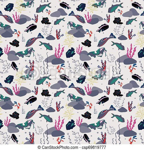 Seamless pattern with whales, seaweeds, corals and fish. - csp69819777