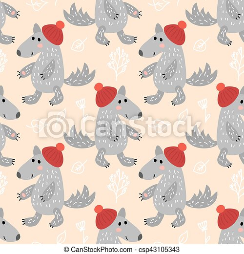 Seamless pattern with wolf - csp43105343