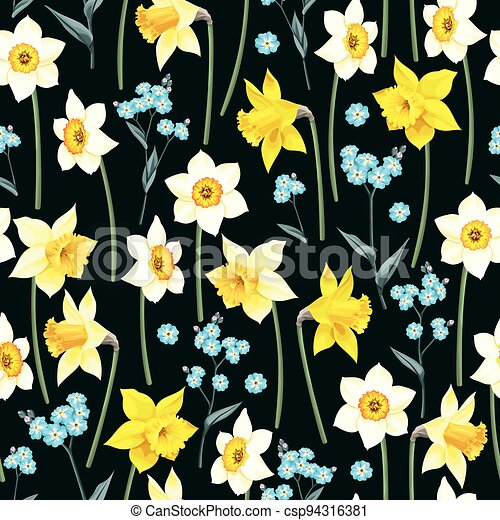Seamless pattern with yellow and white daffodil - csp94316381