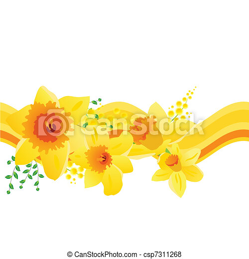 Seamless pattern with yellow daffodils - csp7311268
